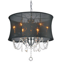 CWI Lighting 5335P20C-(BLACK) Charlotte 6 Light 20 inch Chrome Chandelier Ceiling Light
