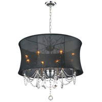 CWI Lighting 5335P24C-(BLACK) Charlotte 8 Light 24 inch Chrome Chandelier Ceiling Light