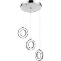 CWI Lighting 5417P16ST-R Ring LED 16 inch Chrome Chandelier Ceiling Light