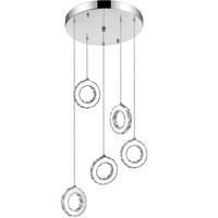 CWI Lighting 5417P20ST-R Ring LED 20 inch Chrome Chandelier Ceiling Light