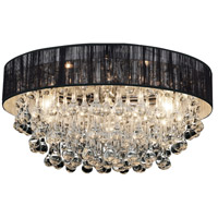 CWI Lighting 5422C22C-R-(BLACK) Atlantic 8 Light 22 inch Chrome Flush Mount Ceiling Light