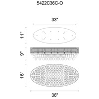Atlantic 10 Light 36 inch Chrome Flush Mount Ceiling Light