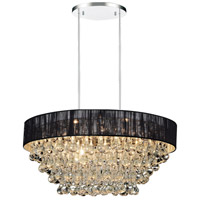 CWI Lighting 5422P18C-R-(BLACK) Atlantic 6 Light 18 inch Chrome Chandelier Ceiling Light