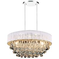 CWI Lighting 5422P18C-R-(WHITE) Atlantic 6 Light 18 inch Chrome Chandelier Ceiling Light