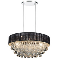 CWI Lighting 5422P22C-R-(BLACK) Atlantic 8 Light 22 inch Chrome Chandelier Ceiling Light