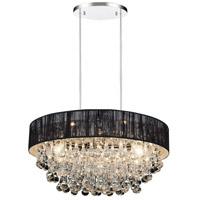 CWI Lighting 5422P22C-R-(BLACK) Atlantic 8 Light 22 inch Chrome Chandelier Ceiling Light