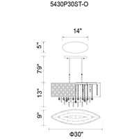 CWI Lighting 5430P30ST-O Galant 5 Light 30 inch Stainless Steel Chandelier Ceiling Light