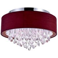 CWI Lighting 5443C18C-(WINE-RED) Dash 4 Light 18 inch Chrome Flush Mount Ceiling Light