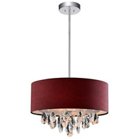 CWI Lighting 5443P14C-(WINE-RED) Dash 3 Light 14 inch Chrome Pendant Ceiling Light
