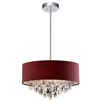 CWI Lighting 5443P18C-(WINE-RED) Dash 4 Light 18 inch Chrome Chandelier Ceiling Light
