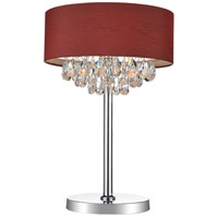 CWI Lighting 5443T14C(WINERED) Dash 25 inch 60 watt Chrome Table Lamp Portable Light