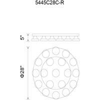 CWI Lighting 5445C28C-R Paulina LED 28 inch Chrome Flush Mount Ceiling Light