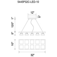 CWI Lighting 5445P32C-LED-10 Paulina LED 32 inch Chrome Down Pendant Ceiling Light