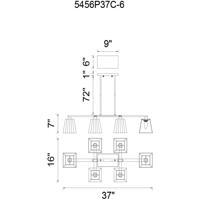 CWI Lighting 5456P37C-6 Tilly 6 Light 37 inch Chrome Chandelier Ceiling Light