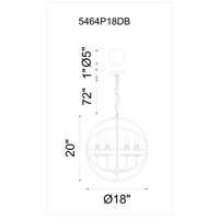 CWI Lighting 5464P18DB Arza 6 Light 18 inch Brown Chandelier Ceiling Light