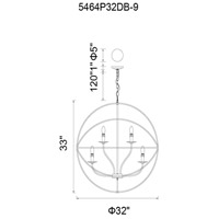 CWI Lighting 5464P32DB-9 Arza 9 Light 32 inch Brown Chandelier Ceiling Light