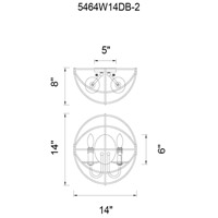 CWI Lighting 5464W14DB-2 Arza 2 Light 7 inch Brown Wall Sconce Wall Light