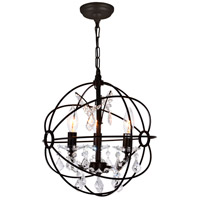 CWI Lighting 5465P13-DB-3 Campechia 3 Light 13 inch Brown Up Mini Chandelier Ceiling Light