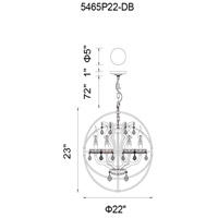 CWI Lighting 5465P22DB Campechia 6 Light 22 inch Brown Chandelier Ceiling Light