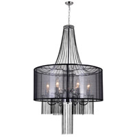 CWI Lighting 5475P20C-6-BLACK Amelia 6 Light 20 inch Chrome Chandelier Ceiling Light