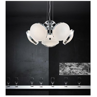 Frosted 6 Light 24 inch Chrome Chandelier Ceiling Light