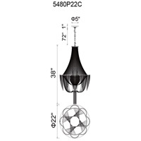 Taylor 10 Light 22 inch Chrome Pendant Ceiling Light