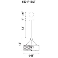 CWI Lighting 5504P16ST Swiss 4 Light 16 inch Stainless Steel Chandelier Ceiling Light