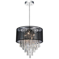 CWI Lighting 5519P17C-(BLACK) Renee 6 Light 17 inch Chrome Chandelier Ceiling Light