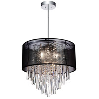 CWI Lighting 5519P19C-(BLACK) Renee 8 Light 19 inch Chrome Chandelier Ceiling Light