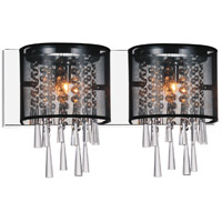 CWI Lighting 5519W19C-2-(BLACK) Renee 2 Light 19 inch Chrome Wall Sconce Wall Light
