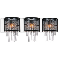 CWI Lighting 5519W29C-3-(BLACK) Renee 3 Light 29 inch Chrome Wall Sconce Wall Light