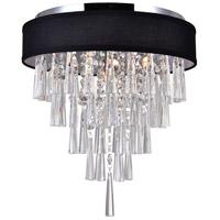 CWI Lighting 5523C16C-(BLACK) Franca 4 Light 16 inch Chrome Flush Mount Ceiling Light