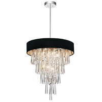 CWI Lighting 5523P16C-(BLACK) Franca 6 Light 16 inch Chrome Chandelier Ceiling Light