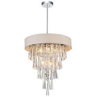 CWI Lighting 5523P16C-(OFF-WHITE) Franca 6 Light 16 inch Chrome Chandelier Ceiling Light