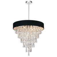 CWI Lighting 5523P22C-(BLACK) Franca 8 Light 22 inch Chrome Chandelier Ceiling Light