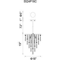 CWI Lighting 5524P16C Blissful 6 Light 16 inch Chrome Chandelier Ceiling Light