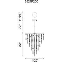 CWI Lighting 5524P20C Blissful 8 Light 20 inch Chrome Down Chandelier Ceiling Light