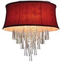 CWI Lighting 5532C19C-(ROSE-RED) Audrey 6 Light 19 inch Chrome Flush Mount Ceiling Light