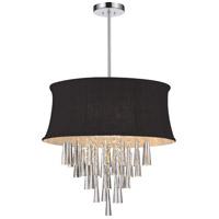 CWI Lighting 5532P19C-(BLACK) Audrey 6 Light 19 inch Chrome Chandelier Ceiling Light