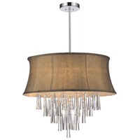 CWI Lighting 5532P19C-(BROWN) Audrey 6 Light 19 inch Chrome Chandelier Ceiling Light