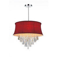 CWI Lighting 5532P19C-(ROSE-RED) Audrey 6 Light 19 inch Chrome Chandelier Ceiling Light