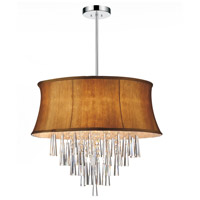 CWI Lighting 5532P22C-(BROWN) Audrey 8 Light 22 inch Chrome Chandelier Ceiling Light
