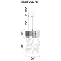 CWI Lighting 5535P20C-RB Claire 6 Light 20 inch Chrome Chandelier Ceiling Light