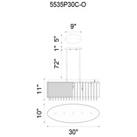 CWI Lighting 5535P30C-O Claire 5 Light 30 inch Chrome Chandelier Ceiling Light