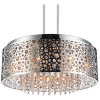 CWI Lighting 5536P24ST Bubbles 9 Light 24 inch Chrome Drum Shade Chandelier Ceiling Light