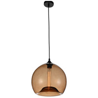 CWI Lighting 5553P12--BROWN Glass 1 Light 12 inch Black Pendant Ceiling Light