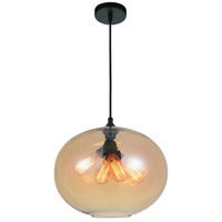 CWI Lighting 5553P16--AMBER Glass 4 Light 16 inch Black Chandelier Ceiling Light