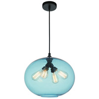 CWI Lighting 5553P16--BLUE Glass 4 Light 16 inch Black Chandelier Ceiling Light
