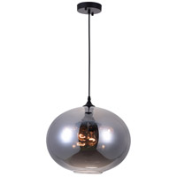 CWI Lighting 5553P16-SMOKE Glass 4 Light 16 inch Black Down Pendant Ceiling Light