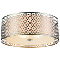 CWI Lighting 5555C17SN Mikayla 3 Light 17 inch Satin Nickel Drum Shade Flush Mount Ceiling Light